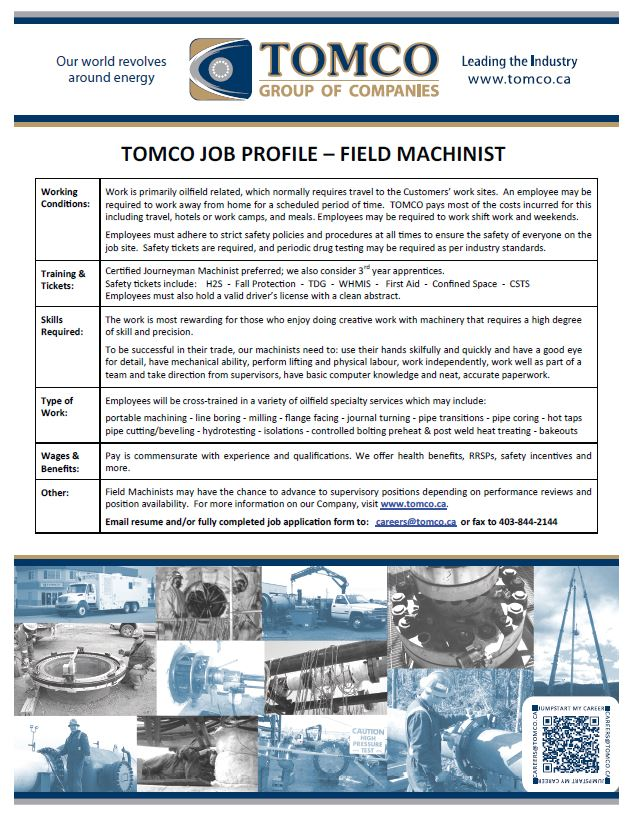 Job Profile - Field Machinist